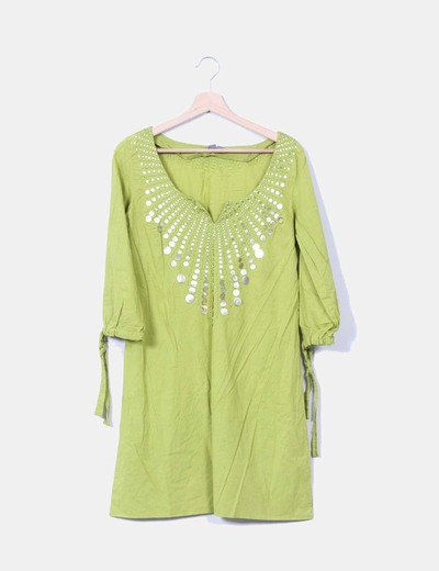 Vestido verde con lentejuelas Zara