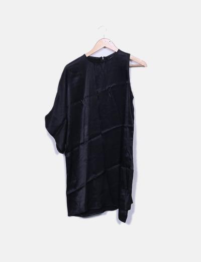 Vestido saten negro asimetrico Zara