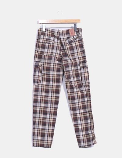 Pantalon marron de cuadros
