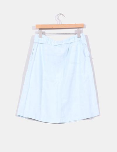Falda de lino azul