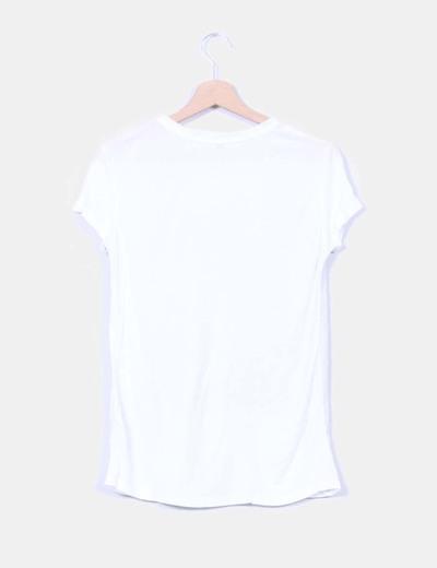 Camiseta blanca combinada print photo