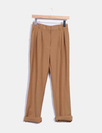 Pantalón camel de vestir Mango