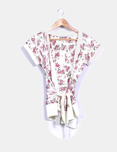 Chaqueta tipo kimono beige floral NoName