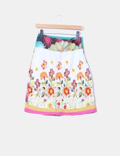 Falda midi estampada Desigual