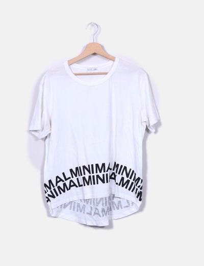 Camiseta blanca print texto Zara
