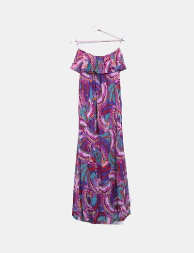 Maxi vestido estampado multicolor sin mangas