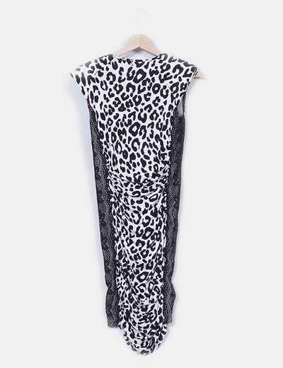 Vestido animal print combinado