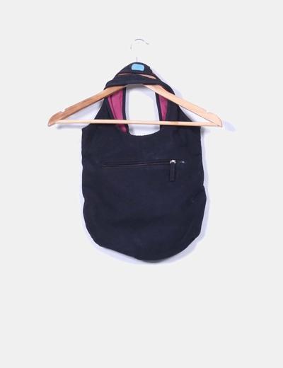 Bolso negro de tela con circulos multicolor