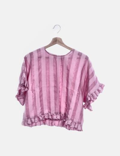 Blusa lino rayas rosa con volantes