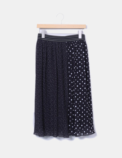 Falda midi negra topos blancos Zara