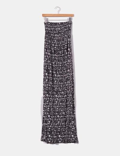 Maxi falda blanca y negra con aberturas laterales H&M