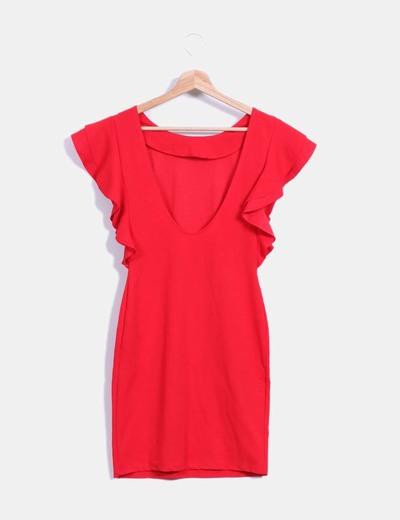 89db18014bc H M Vestido rojo mangas volante (descuento 49%) - Micolet