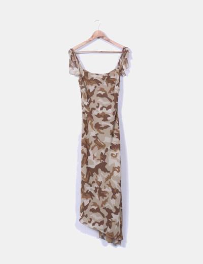 Maxi vestido estampado militar Zara