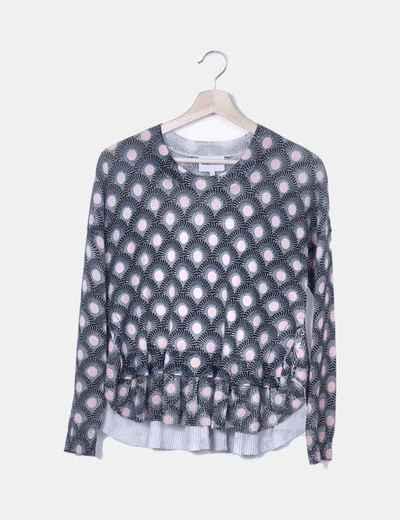 Camiseta tricot negra estampada