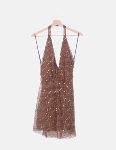 Vestido marrón con paillettes cuello halter