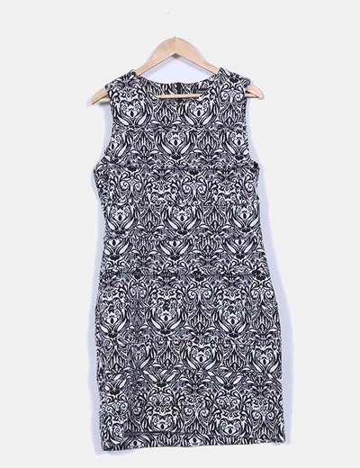 Vestido texturizado estampado greca Elogy