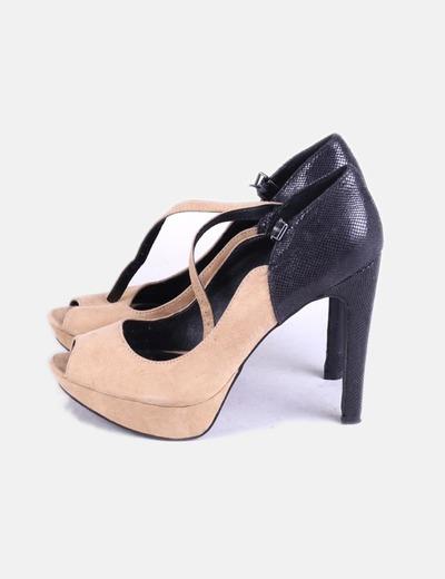 Camel Glitter Marypaz Tacón descuento Combinado De Y Negro Zapato qIwxnwH0CA