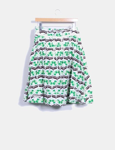 Maxi falda verde estampada