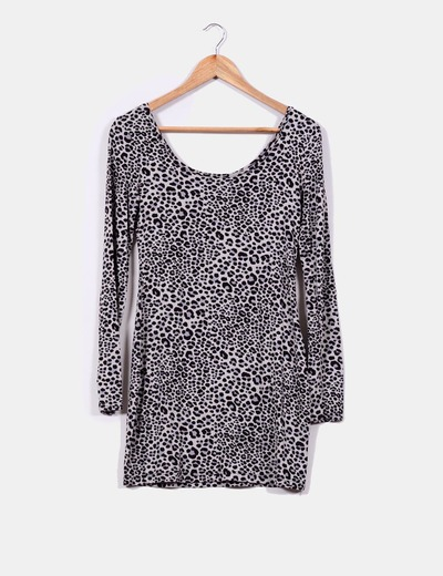 Vestido gris print leopardo H&M