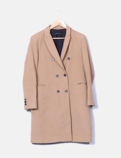 7be929b1240 Zara Abrigo largo paño camel (descuento 73%) - Micolet