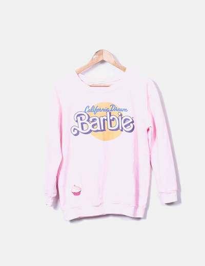 Sweat-shirt rose imprimé Sheinside