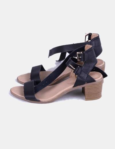 Negras De Tacón Tiras Mini Sandalia Con CBedxo