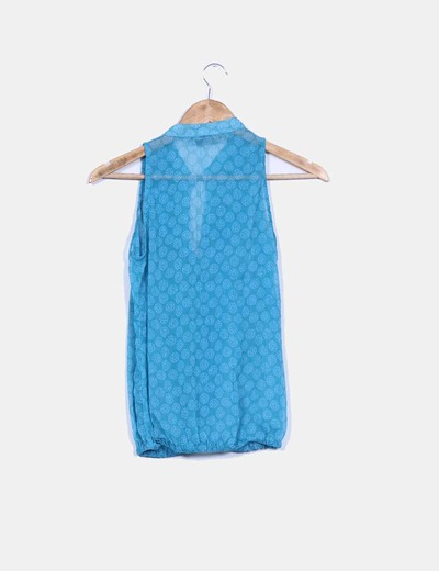 Blusa azul petroleo estampada