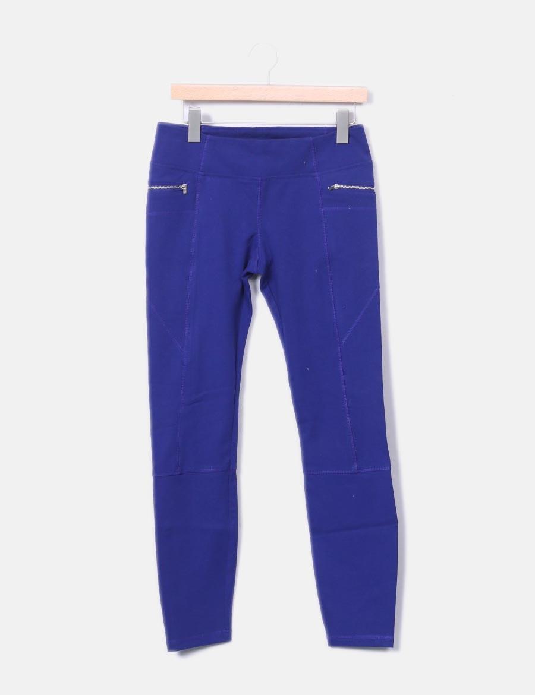 Baratos Legging Pantalones Cremalleras Mujer Qwbc4x8 Azul Con Zara 4q4Cawr