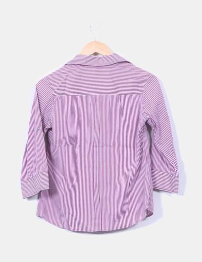Camisa de rayas color vino