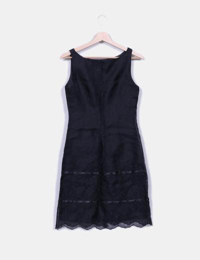 Vestido midi negro irisado