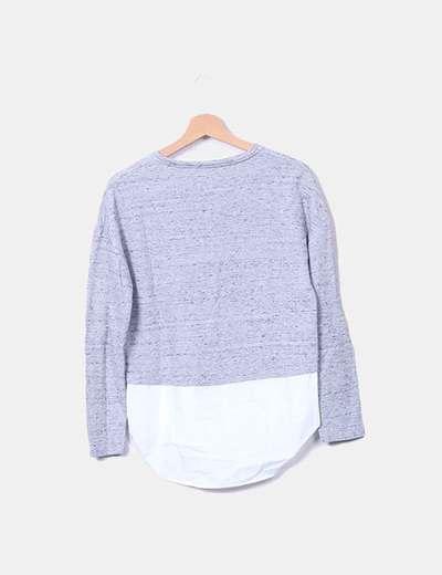 Blusa gris jaspeada combinada