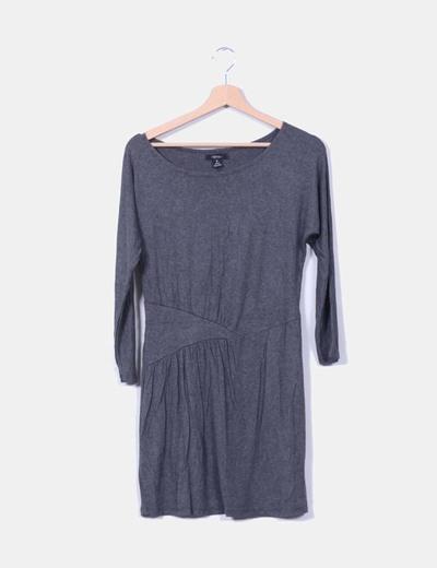 Vestido gris manga larga Sfera