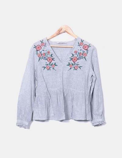 Gray blouse with floral embroidery Zara