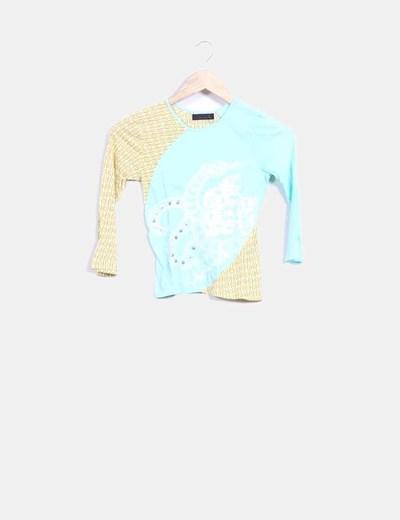 Camiseta azul y beige detalle corchetes Custo Barcelona