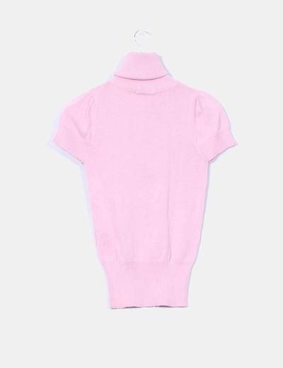 Jersey tricot rosa palo manga corta