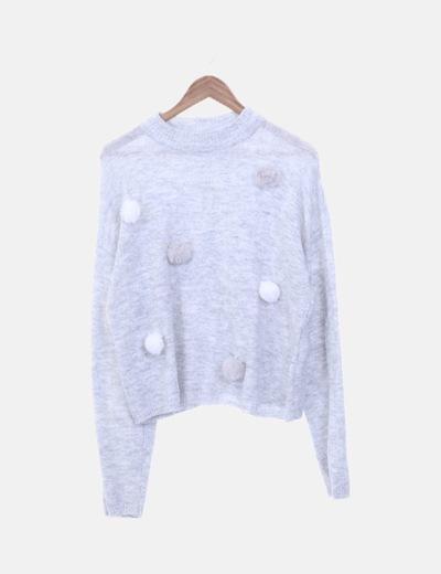 Jersey lana gris con pompones