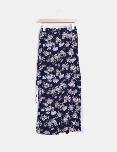 Falda larga azul marino floral