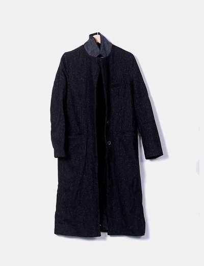 Abrigo largo negro con putadas de colores Zara