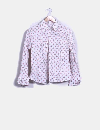 Blusa blanca manga larga con estampado floral Boteli