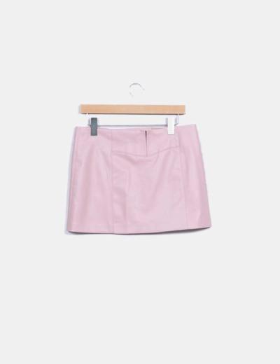 Zara Mini-jupe rose simili cuir pâle (réduction 83%) - Micolet 4c6aeb41632