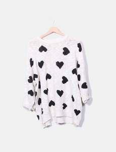 Jersey de punto beige corazones Zara 2cf5eef859e