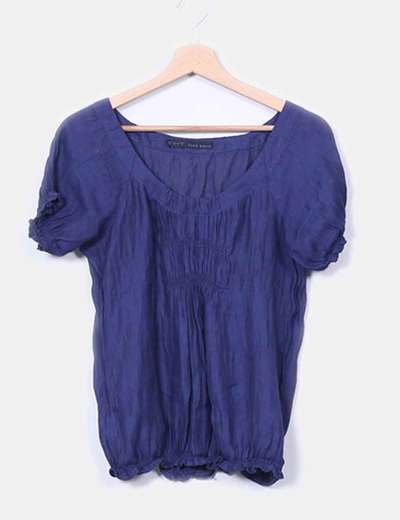 Blusa azul semitransparente fruncida Zara