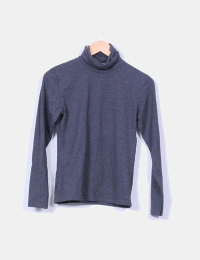 Camiseta gris con cuello vuelto Zero`s