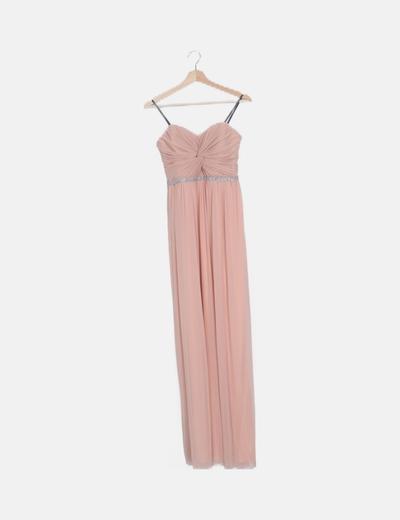 Maxi vestido de fiesta rosa strass