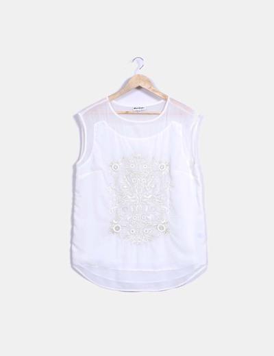Blusa blanca bordada detalles dorados El Corte Inglés