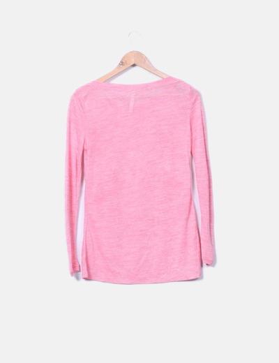 Camiseta rosa de punto