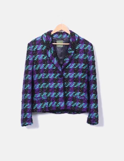 Conjunto de chaqueta y falda tricot combinado