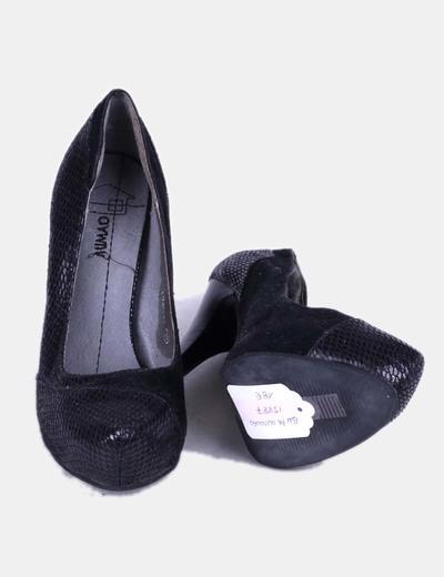 Zapatos texturizado animal print negro