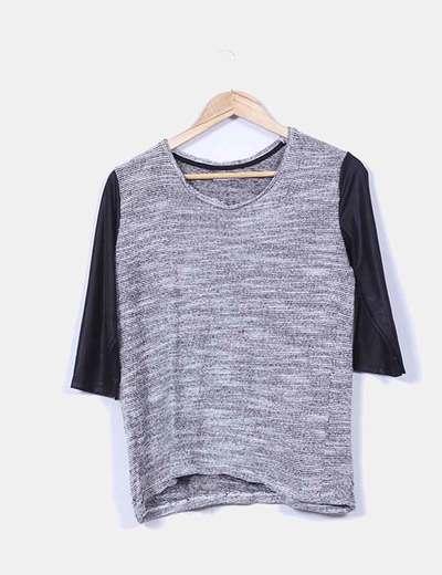 Suéter combinado gris jaspeado Lefties