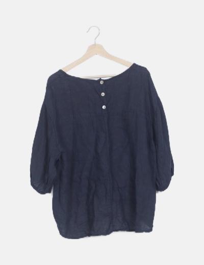 Camiseta azul marino lino
